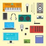 Set muzyka cyfrowy wyposażenie Obrazy Stock
