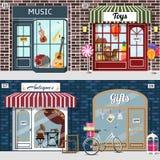 Set muzyka, zabawki, antyki i prezentów sklepy, Zdjęcie Stock