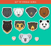 Set 9 muzzles stickers bears handmade, linear style. Bear faces. Set of 9 muzzles stickers bears handmade in linear style. Faces of bears. Color bears. Breeds of Royalty Free Stock Images