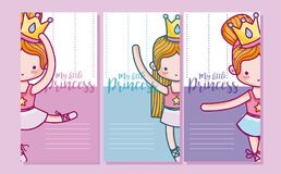 Set of cards for girls. Set of my little princess cards for girls vector illustration graphic design Royalty Free Stock Photography