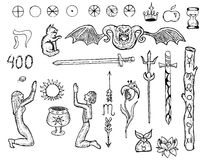 Set with mystic characters, symbols and numbers. Graphic collection with mystic characters, demon, swords, wands, symbols and signs. Hand drawn engraved set vector illustration