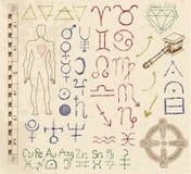 Set with mystic symbols, emblems amd signs royalty free illustration