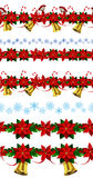 Set of n Seamless Christmas borders Stock Photo