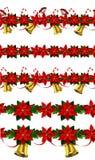 Set of n Seamless Christmas borders Stock Images