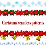 Set of n Seamless Christmas borders Royalty Free Stock Photos