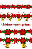 Set of n Seamless Christmas borders Stock Photos