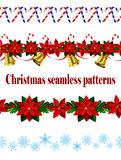 Set of n Seamless Christmas borders Royalty Free Stock Photography