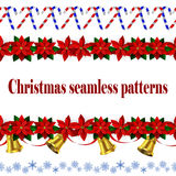 Set of n Seamless Christmas borders Stock Images