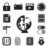 Set Na całym świecie, kędziorek, notatka, odcisk palca, kontrola, zmiana, Str ilustracji