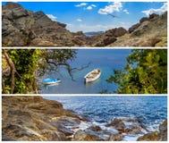 Set nabrzeżni krajobrazowi sztandary i panoramy Zdjęcie Stock