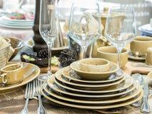 Set naczynia na stole Zdjęcie Stock