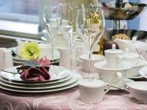 Set naczynia na stole Obraz Royalty Free