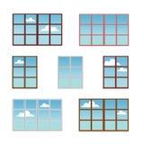 Set nadokienne ramy w różnych kolorach Fotografia Royalty Free
