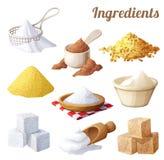 Set Nahrungsmittelikonen Bestandteile für das Kochen Lizenzfreie Stockfotos