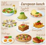 Set Nahrungsmittelikonen Europäisches Mittagessen Lizenzfreie Stockfotografie