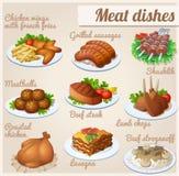 Set Nahrungsmittelikonen Fleischteller Lizenzfreie Stockfotografie