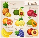 Set Nahrungsmittelikonen Früchte Stockfotos