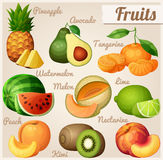 Set Nahrungsmittelikonen Früchte Ananasananas, Avocado, Mandarinentangerine, Wassermelone, Melonenkantalupe, Kalk, Pfirsich Stockfotografie