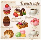 Set Nahrungsmittelikonen Französisches Café Schokoladen-kleiner Kuchen mit Gabel Lizenzfreie Stockbilder