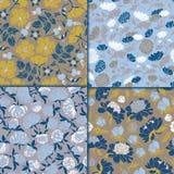 Set nahtlose Blumenmuster Beschaffenheiten mit Wiesenflora für Oberflächen, Papier, Verpackungen, Hintergründe, scrapbooking stock abbildung