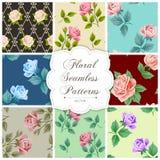 Set nahtlose mit Blumenmuster Stockfotografie
