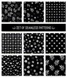 Set nahtlose Muster Einfarbig, schwarz und Lizenzfreie Stockfotografie