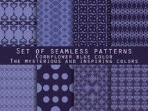 Set nahtlose Muster geometrisches nahtloses Muster cornflower Vektor Abbildung