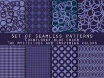 Set nahtlose Muster geometrisches nahtloses Muster cornflower Stock Abbildung
