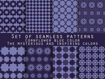 Set nahtlose Muster geometrisches nahtloses Muster cornflower Lizenzfreie Abbildung