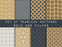 Set nahtlose Muster geometrisches nahtloses Muster Gold und s Lizenzfreie Abbildung