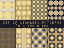 Set nahtlose Muster geometrisches nahtloses Muster Gold und Schwarzes Stock Abbildung