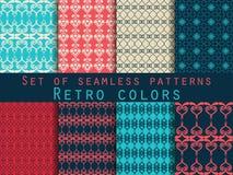 Set nahtlose Muster geometrisches nahtloses Muster Retro- colo Lizenzfreie Abbildung