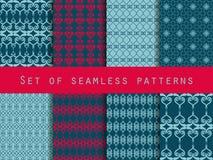 Set nahtlose Muster geometrisches nahtloses Muster Retro- Farben Lizenzfreie Abbildung