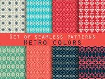 Set nahtlose Muster geometrisches nahtloses Muster Retro- Farben Vektor Abbildung