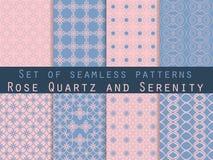 Set nahtlose Muster geometrisches nahtloses Muster Rosen-Quart Stock Abbildung
