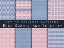 Set nahtlose Muster geometrisches nahtloses Muster Rosen-Quart Lizenzfreie Abbildung