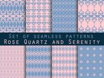 Set nahtlose Muster geometrisches nahtloses Muster Rosenquarz- und Ruheveilchenfarben Vektor Abbildung