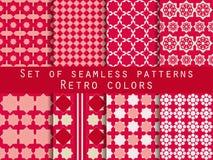 Set nahtlose Muster Raute und Quadrate Retro- Farben Lizenzfreie Abbildung
