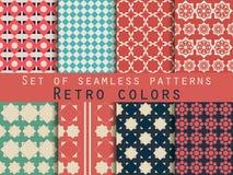 Set nahtlose Muster Raute und Quadrate Retro- Farben Stock Abbildung
