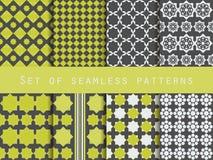 Set nahtlose Muster Raute und Quadrate Retro- Farben Lizenzfreie Stockfotografie