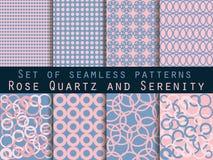 Set nahtlose Muster Rosenquarz und Ruhe Stock Abbildung