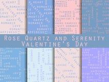 Set nahtlose Muster Wörter bezogen auf Valentinsgruß ` s Tag Rosenquarz und Ruhe Vektor Stock Abbildung