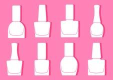 Set of nail polish bottle, white silhouette on pink background. Vector stock illustration