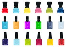 Set of nail polish bottles. Vector illustration. Royalty Free Stock Photography