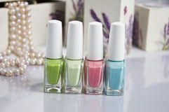Set of nail polish summer colors Stock Photos