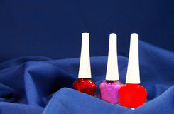 Set of nail polish. On a velvet cloth Stock Photography
