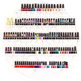Set of nail polishes on a wall in beauty salon Stock Photography