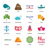 Set of nail studio, jasmine, commando, rocketship, christian fish, lacrosse, three leaf clover, made in france, elephant icons. Set Of 16 simple  icons such as Stock Images