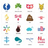 Set of nail studio, lacrosse, christian fish, nervous system, peoples, poop, c fire, minimal owl, squat icons. Set Of 16 simple  icons such as nail studio Royalty Free Stock Photos