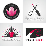 Set of nails salon, nails art vector logo, icon, symbol, emblem. Sign. Graphic design element with nails tools - lacquer, scissors, finger stock illustration